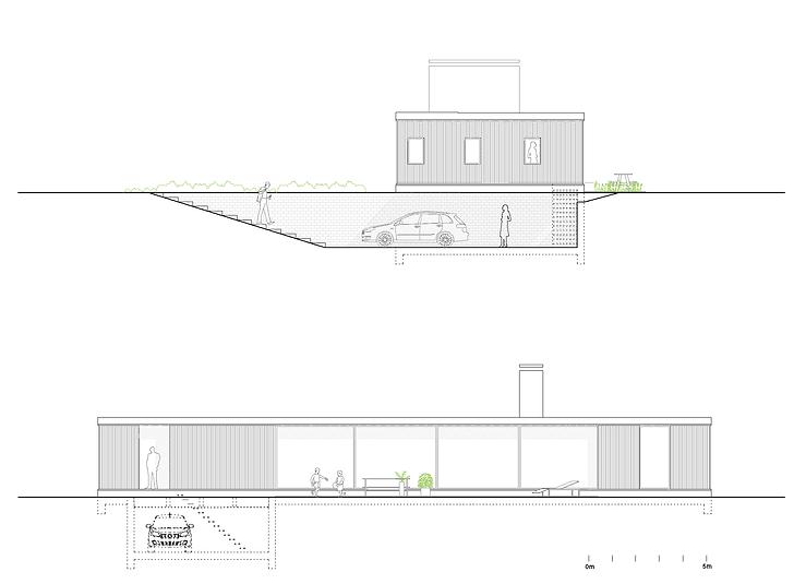 Kevin Veenhuizen Architects / villa Lelystad / aanzicht en doorsnede