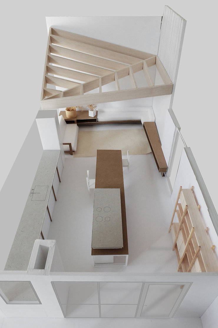 Kevin Veenhuizen Architects / vlinderdak aanbouw Amsterdam / maquette