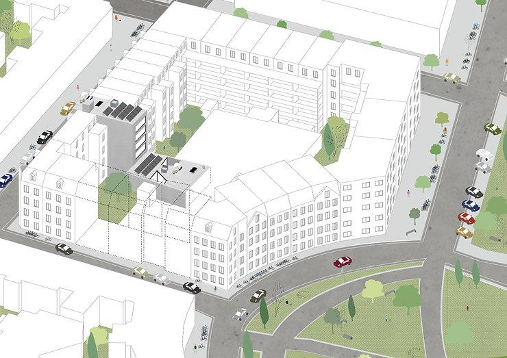 Kevin Veenhuizen Architects / CPO autogarage Amsterdam / bouwblok