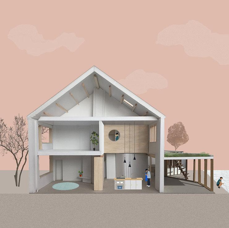 Kevin Veenhuizen Architects / Duurzame verbouwing en Aanbouw Uithoorn / Doorsnede maquette dubbelhoge keuken