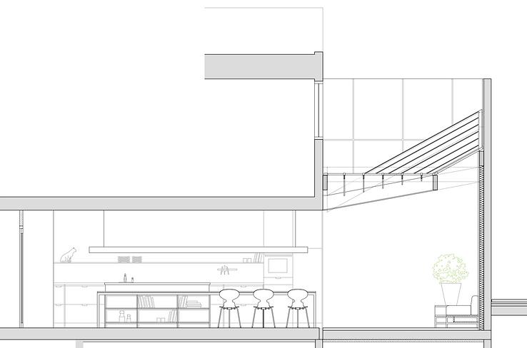 Kevin Veenhuizen Architects / vlinderdak aanbouw Amsterdam / doorsnede