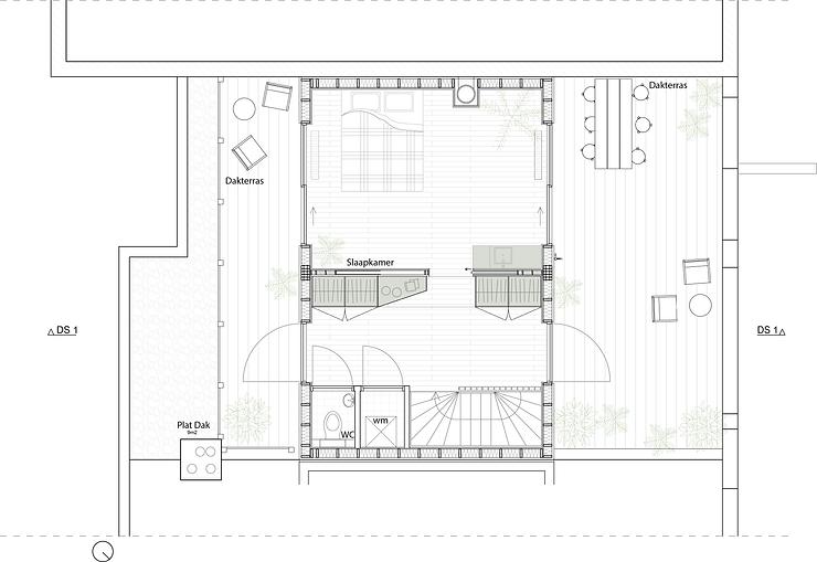 Kevin Veenhuizen Architects / dakopbouw Amsterdam / plattegrond