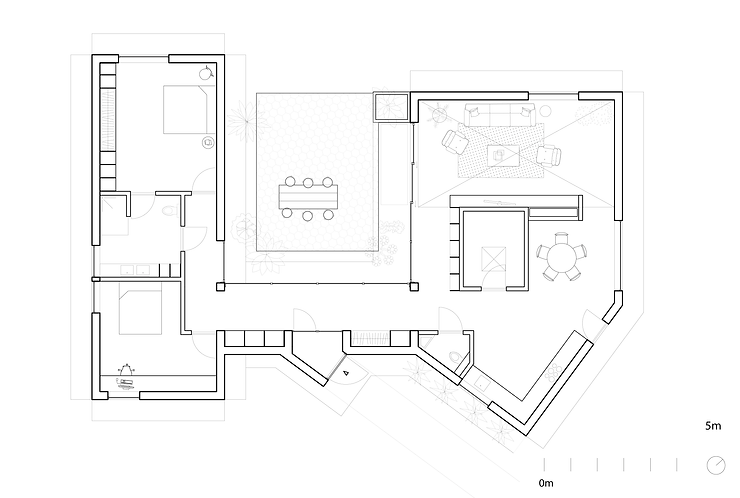 Kevin Veenhuizen Architects / Patio House Netersel / plattegrond