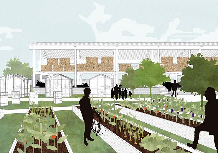 Kevin Veenhuizen Architects / Eco Boerderij Breukelen / binnenplaats met moestuin en stallen