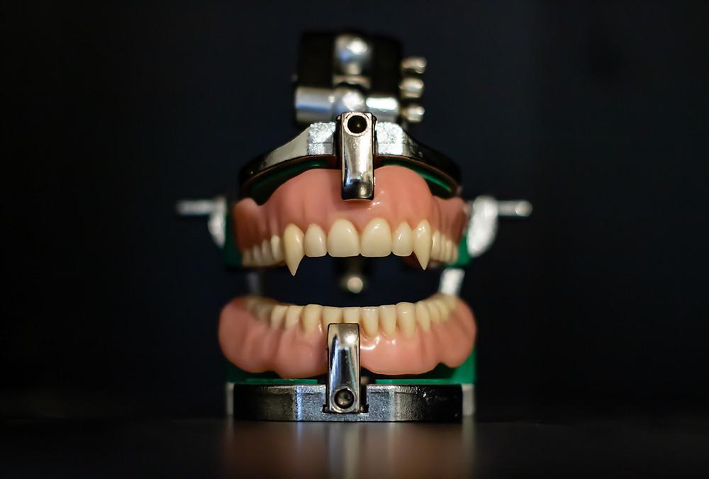 Custom vampire dentures.
