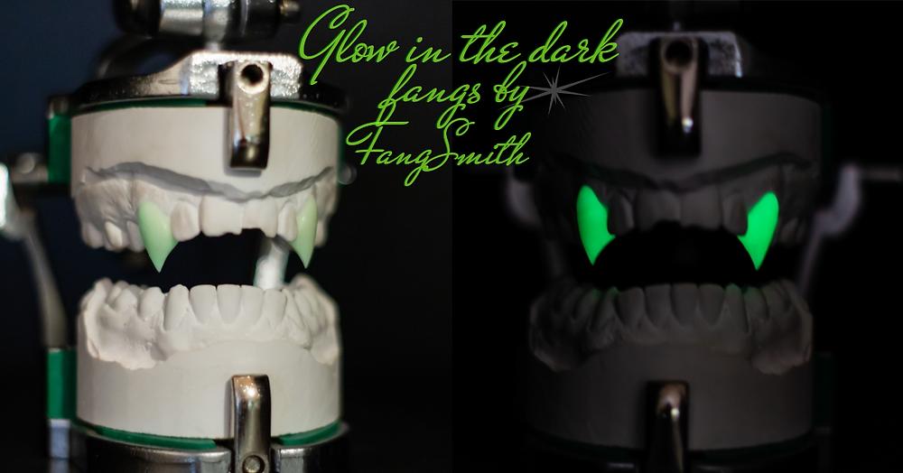 Glow in the dark vampire fangs, custom made by FangSmith Australia.