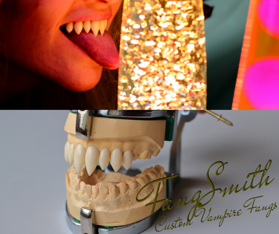 Bambi's nosferatu fangs pictured on stone dental model and in her mouth.