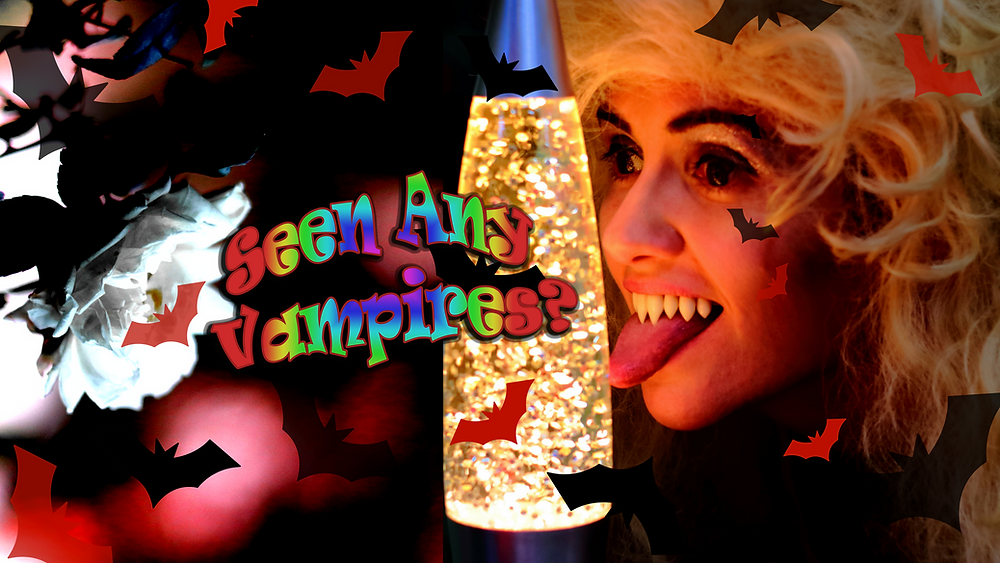 Bambi inspectiving lava lamps on 'Seen Any Vampires?' Youtube banner.