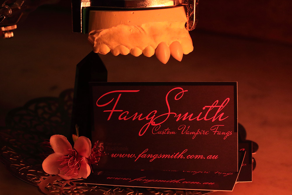 The original business card of FangSmith Australia, custom vampire fangs.