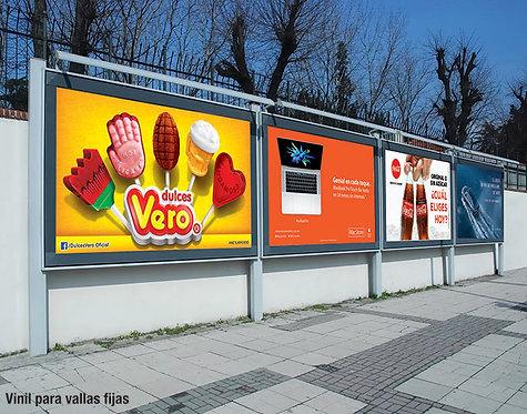 Vallas fijas, vallas publicidad, foto de un ejemplo estándar para vallas fijas, publicidad