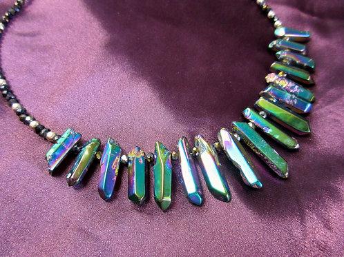 Rainbow Aura Quartz Bib Necklace