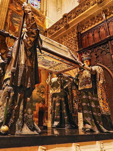 The tomb of Christopher Columbus inside the Seville Cathedral.