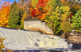 Colourful autumn in Quebec, Canada. Montmorency National Park.
