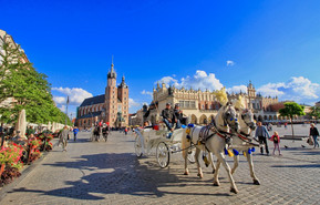 Rynek - The Main Market Square in Krakow, Europe's largest medieval square.