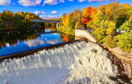Montmorency river and falls in Quebec, Canada