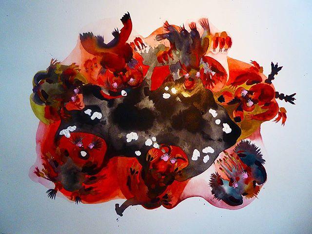 Feeders__90x100 cm _#watercolor #morpions