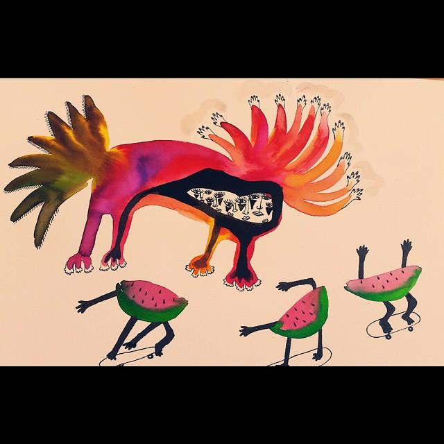 Eat 🍉 or 💀 #illustration #ink #watercolours #skate #pow #yo