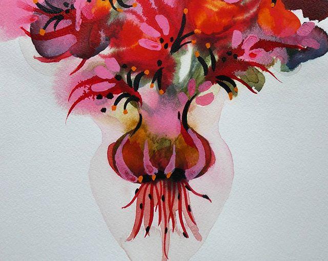 Watercolour details _#watercolour #painting #sennelier #fleur #flower #bulb #ink #gouache #tasmania