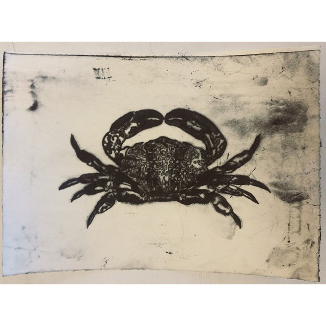 Dry point crabby etching