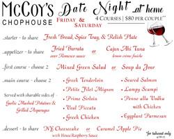 Date Night Menu 4-16-21