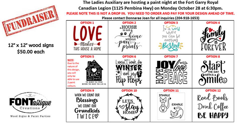 Ladies Auxiliary Paint Night - Fort Garry Royal Canadian Legion