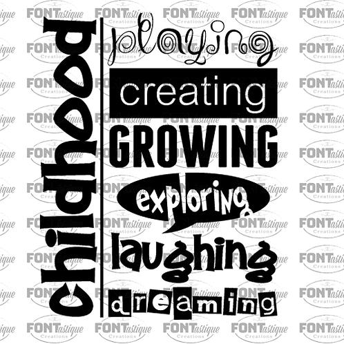 "Childhood Playing Creating (12""x12"")"