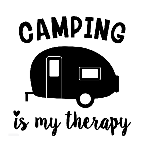 """Camping is my therapy Camper (12""""x12"""")"""