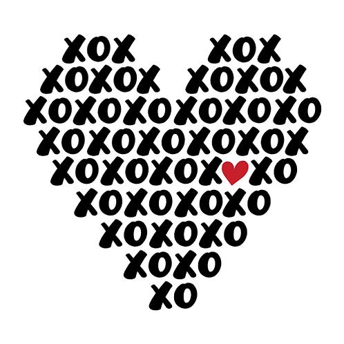 "XOXO Heart shape (12""x12"")"