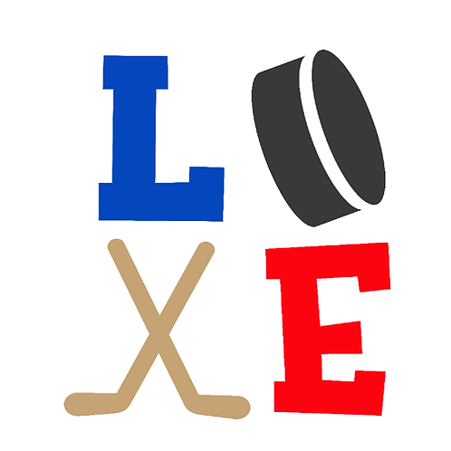"LOVE hockey stick/puck (12""x12"")"