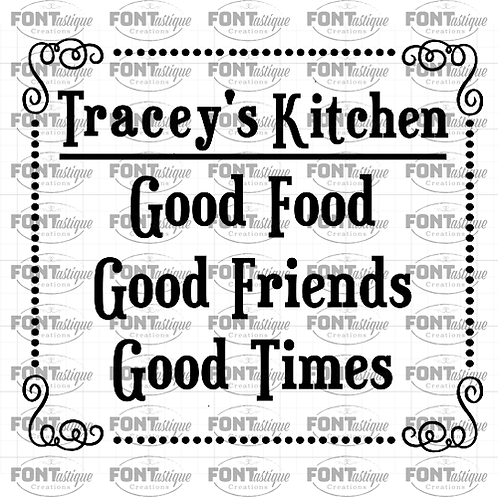 "(Name)-Good Food Good Friends (12""x12"")"