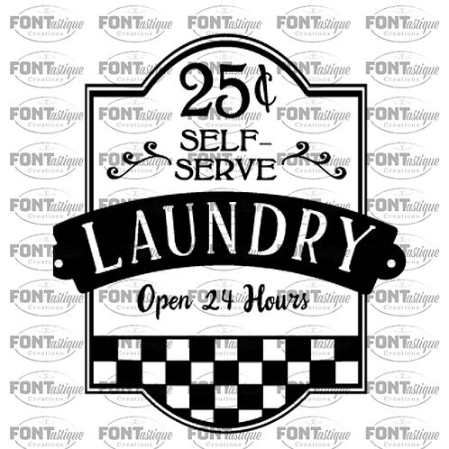 "25 cents Self Serve Laundry (12""x12"")"