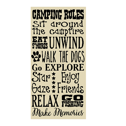 "Camping Rules (with Walk the Dog/s) (12""x 24"")"