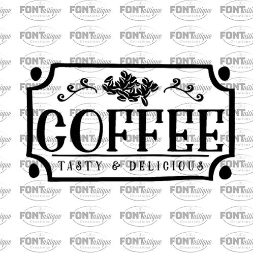 "Coffee Tasty & Delicious (12""x24"")"