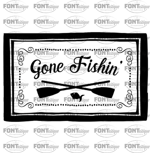 "Gone Fishing (paddles) (12"" x 24"")"