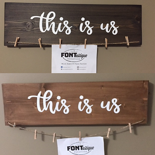 """This is Us"" Picture Hanger with clips (5.5"" x 18"")"