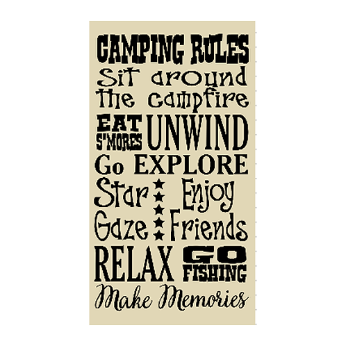 """Camping Rules (12""""x 21"""")"""