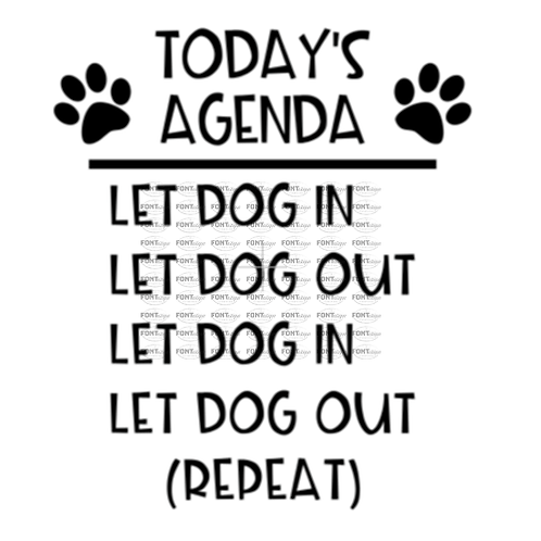 """Toda's Agenda - Let Dog in, Let Dog out (12""""x12"""")"""