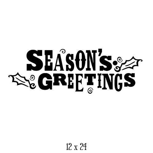 """Season's Greetings - holly leaves (12""""x 24"""")"""
