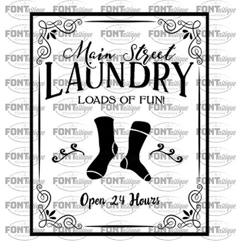 """Main Street Laundry (12""""x12"""")"""