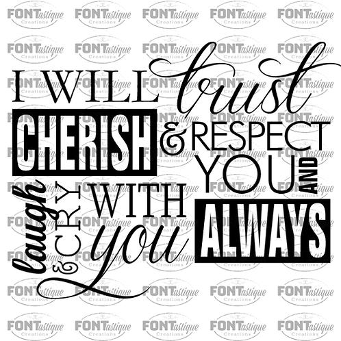"I will trust cherish (12""x12"")"