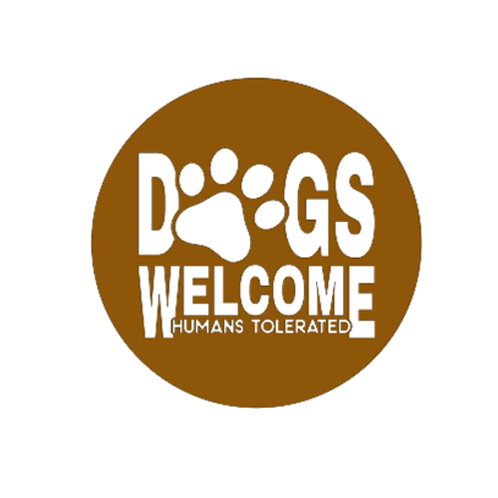 "Front Door Hanger (15"") - Dogs Welcome, humans tolerated"