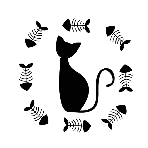 """Cat with fish wreath (12""""x12"""")"""