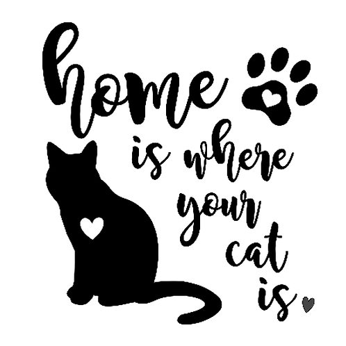 "Home is where your cat is (12""x 12"")"