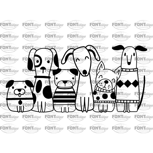 """Dog Family - 6 dogs  (12""""x 12"""")"""