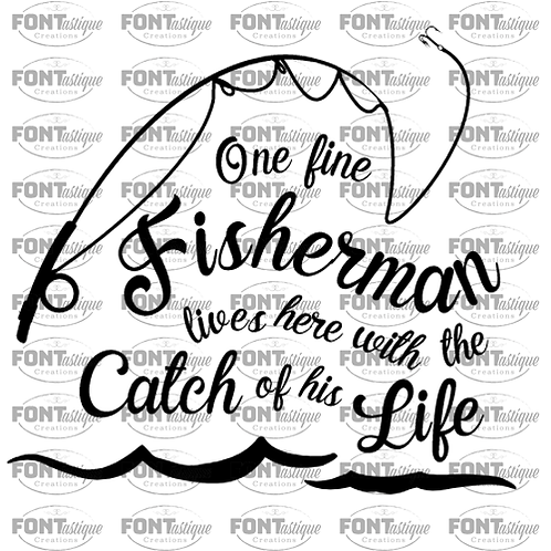 "One Fisherman Lives here with Catch (12""x12"")-1"