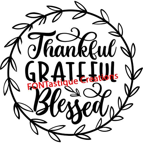 "Thankful Grateful Blessed Wreath (12""x12"")"