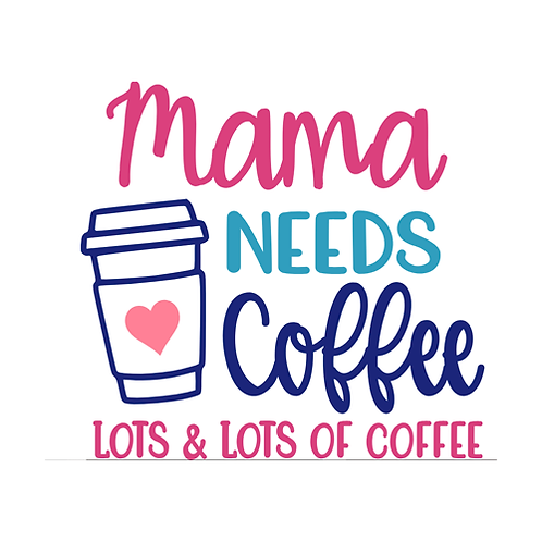 "Mama needs coffee lots and lots (12""x12"")"