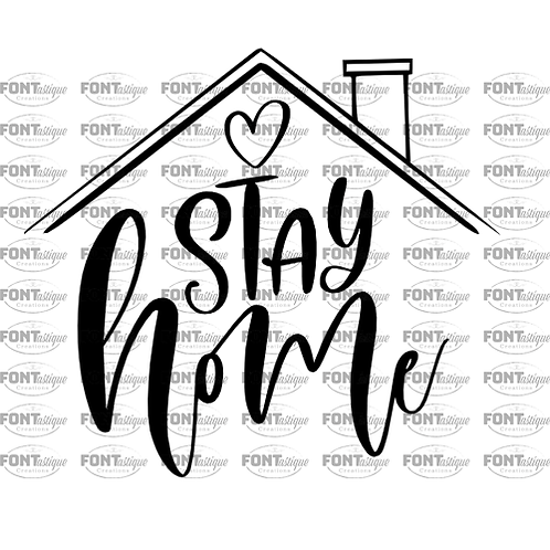 "Stay Home with Roof (12""x 12"")"