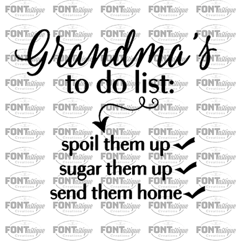 "Grandma's To Do List  (12""x12"")"