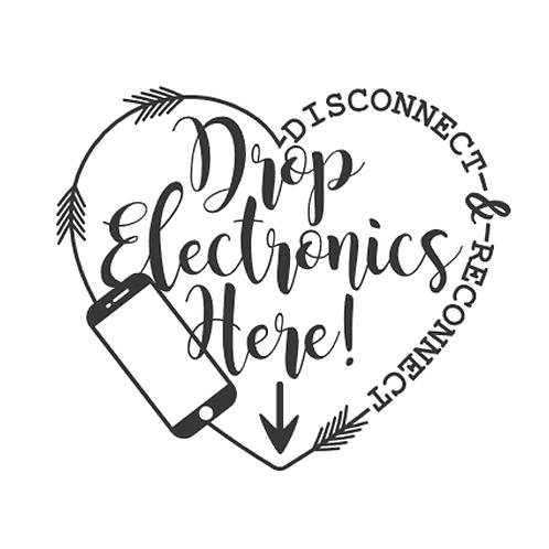 "Drop electronics here (12""x12"")"